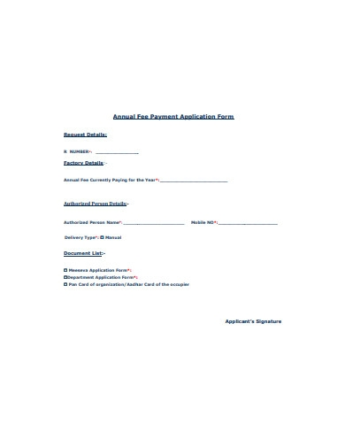 annual fee payment application form