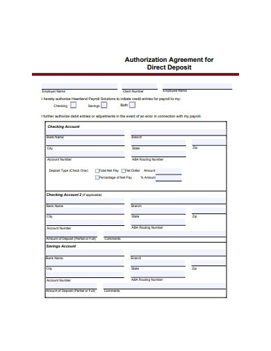 authorization agreement for direct deposit