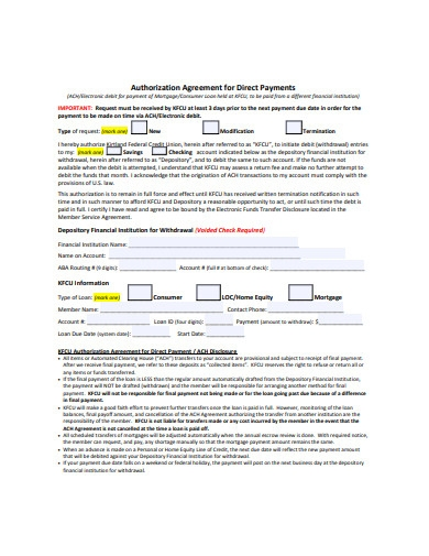 authorization agreement for direct payments