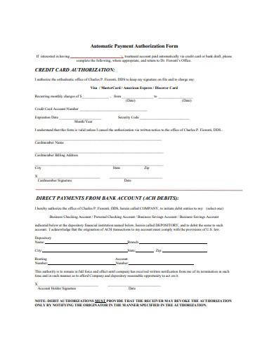 automatic payment authorization form