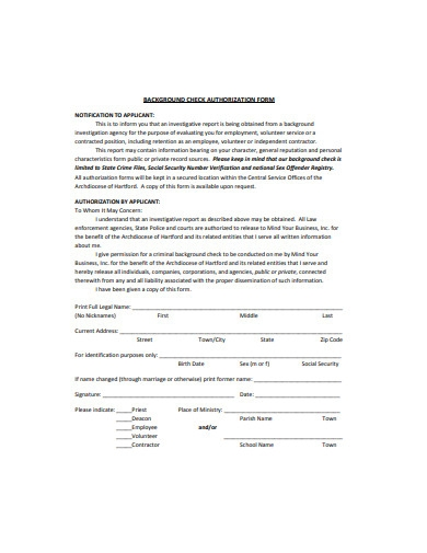 background check authorization form example