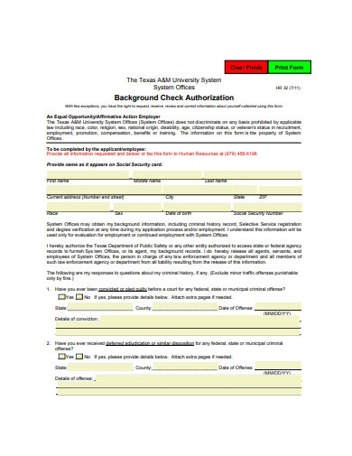 background check authorization format