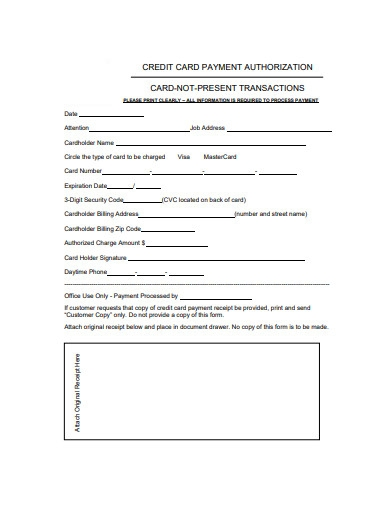 basic credit card authorization form example