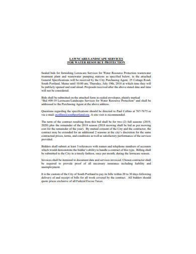 basic lawn care bid format
