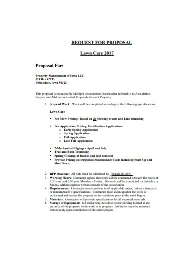basic lawn care request for proposal