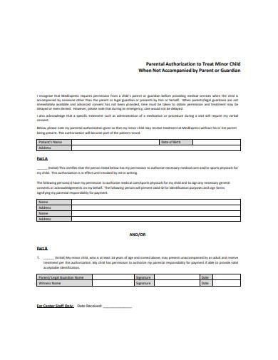 basic parental authorization form