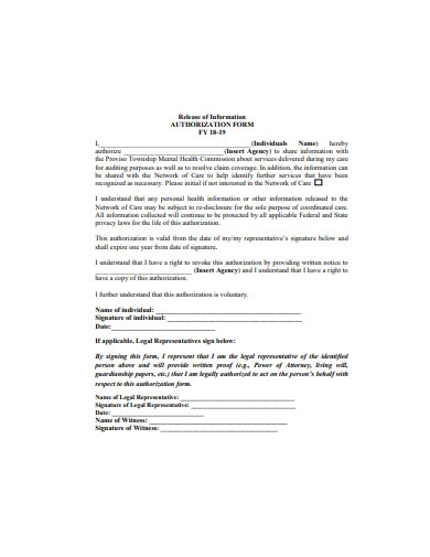 basic release of information authorization form