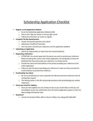basic scholarship application checklist example