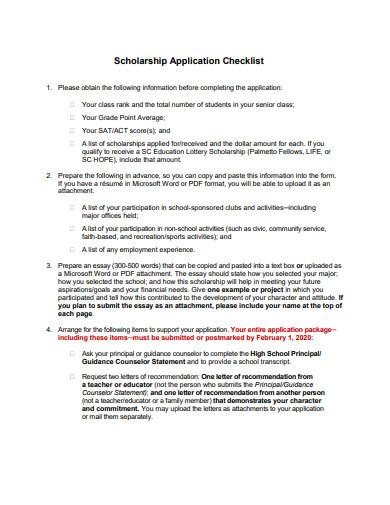 basic scholarship application checklist