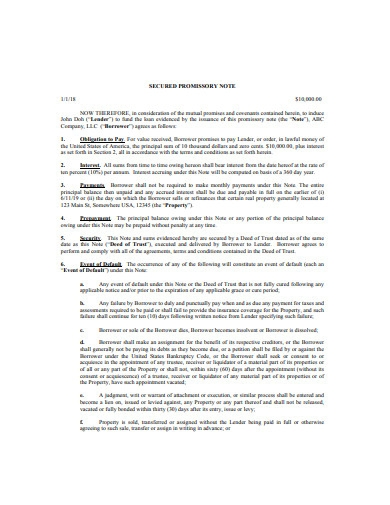 basic secured promissory note
