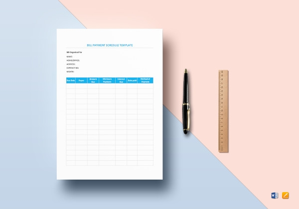 bill payment schedule template