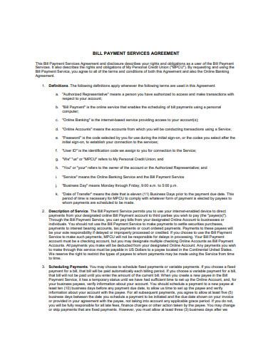bill payment service agreement format
