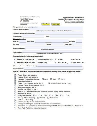 certificate of authorization application form example