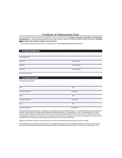 certificate of authorization form
