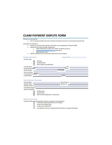 claim payment dispute form