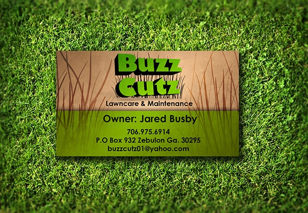 classic lawn care business card