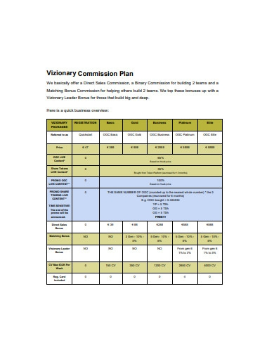 commission plan format