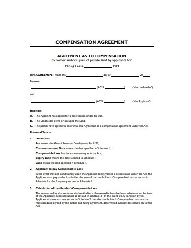 compensation agreement example