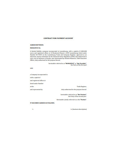 contract for payment account