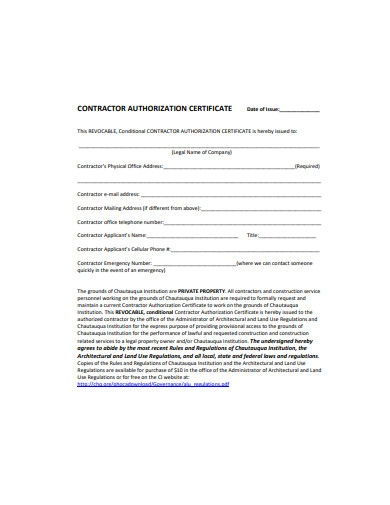 contractor authorization certificate