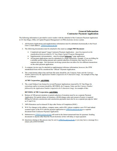 contractor payment application