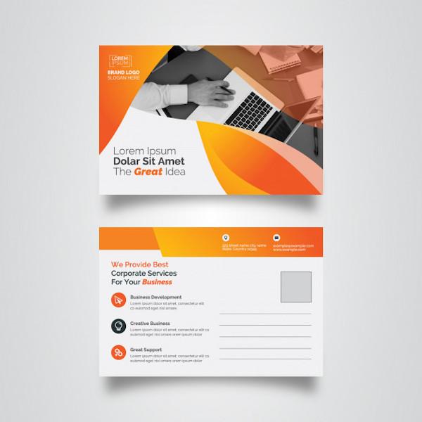 corporate financial service postcard