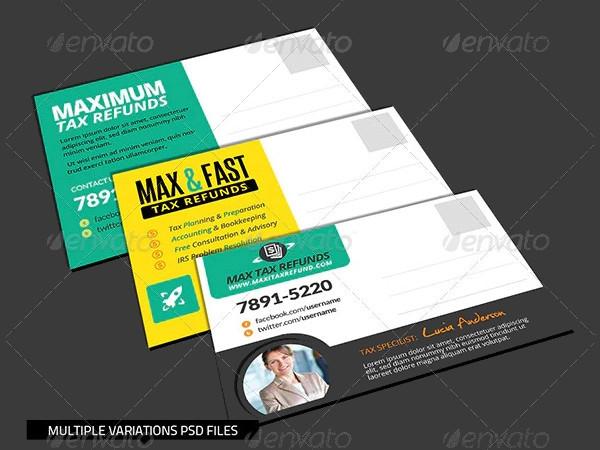 corporate tax refund financial service postcard