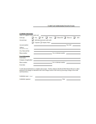 credit card authorization form for events