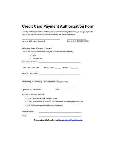 credit card payment authorization form sample