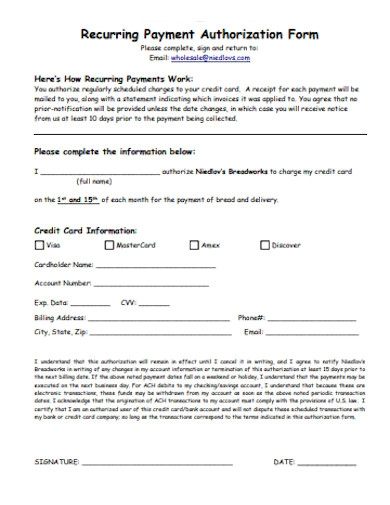 credit card recurring payment authorization form example
