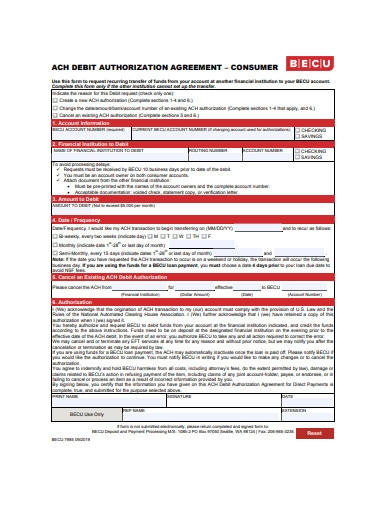debit authorization agreement