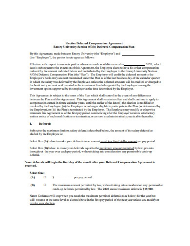 deferred compensation agreement example