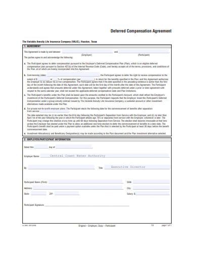deferred compensation agreement