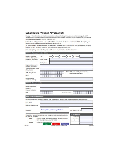 electronic payment application