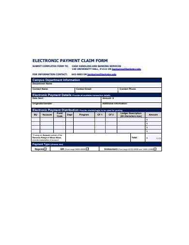 electronic payment claim form