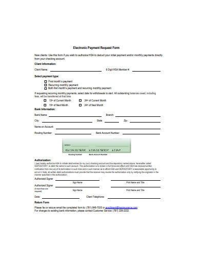 electronic payment request form sample