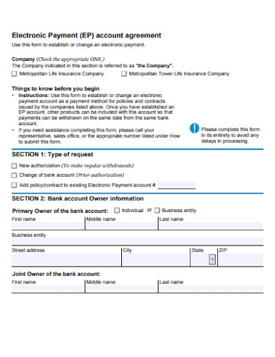 electronic recurring payment account agreement
