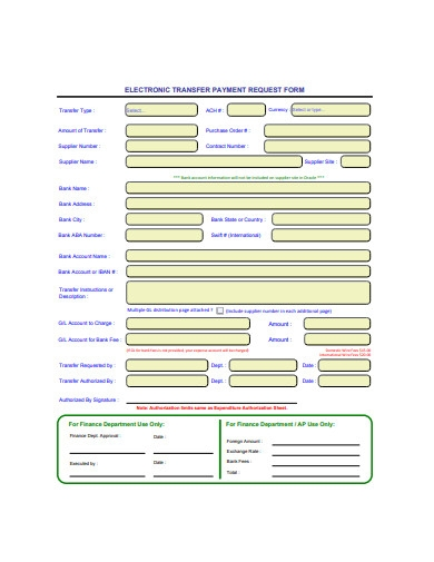 electronic transfer payment request form