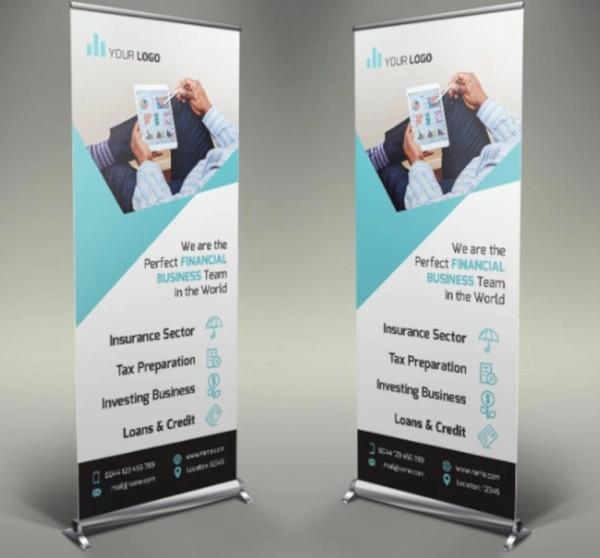 elegant financial roll up banner