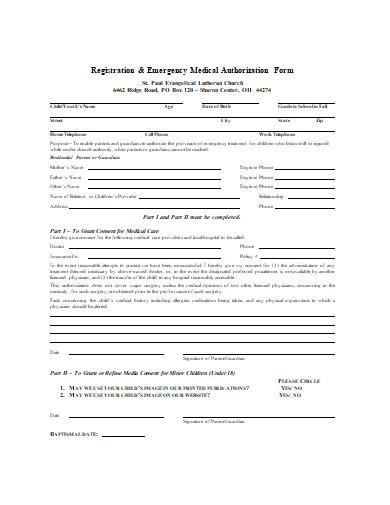 emergency medical authorization form