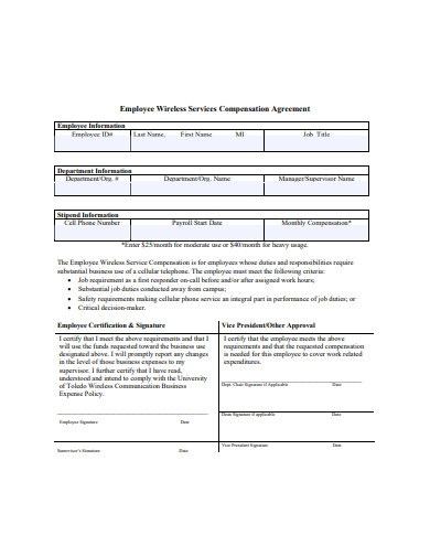employee wireless services compensation agreement