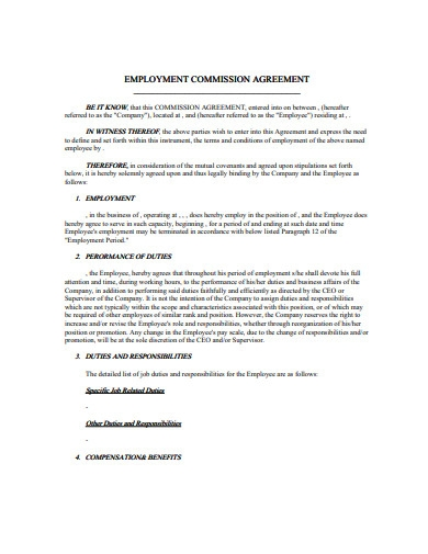 employment commission agreement