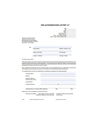 fee authorization letter
