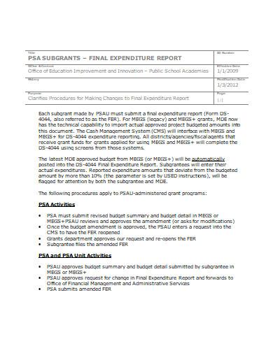 final expenditure report