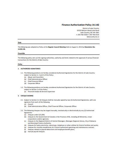 finance authorization policy