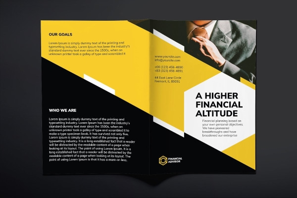 financial advisor bifold brochure indesign