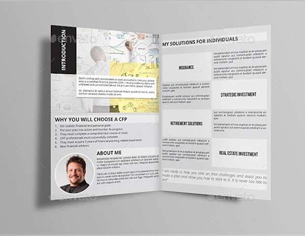 financial advisor half fold brochure