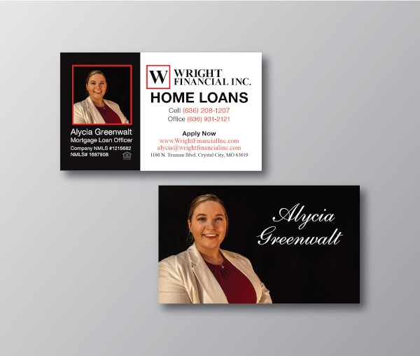financial business card sample