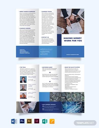 financial service tri fold brochure template