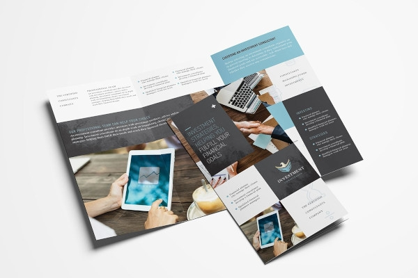 financial service trifold brochure indesign